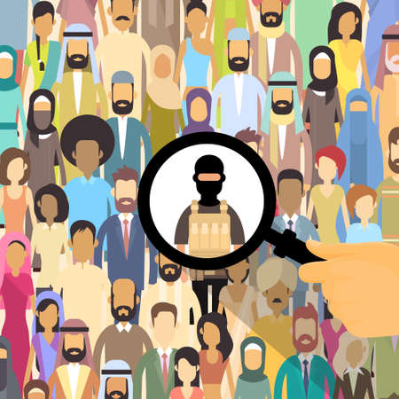 militant: Terrorist In Crowd People Group Terrorism Threat Concept Flat Vector Illustration Illustration