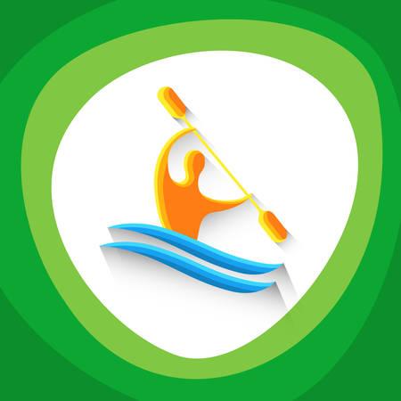 slalom: Canoe Slalom Athlete Sport Game  Competition Icon Vector Illustration