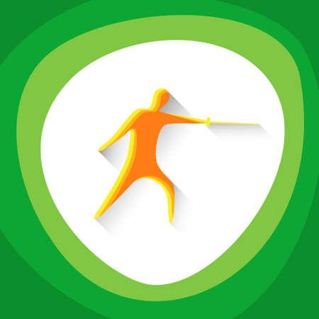 esgrimista: Fencing Sport Game  Fencer Icon Vector Illustration