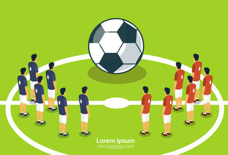 judge players: Football Team Players On Field Start Championship Flat Vector Illustration Illustration