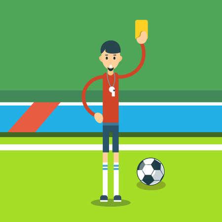 football referee: Football Referee Show Yellow Card Flat Vector Illustration Illustration