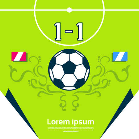 score board: Football Match Score Board Banner Flat Vector Illustration