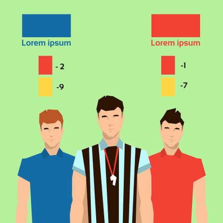 football referee: Football Referee Players Match Punishment Statistics Flat Vector Illustration