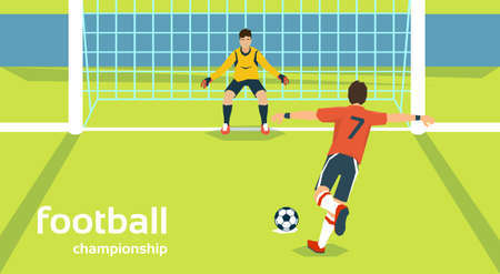 kick ball: Football Match Goalkeeper Protecting Gates Player Kick Ball Flat Vector Illustration