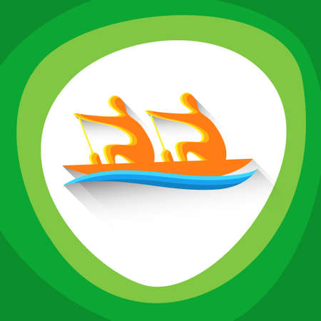 boating: Rowing Sport Game  Boating Competition Icon Vector Illustration