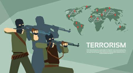 terrorism crisis: Armed Terrorist Group Over World Map Terrorism Concept Flat Vector Illustration