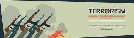 terrorism: Terrorist Group Hands Holding Guns Terrorism Vector Illustration