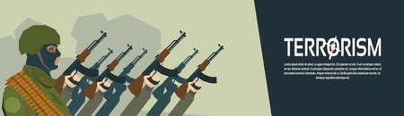balaclava: Terrorist Group Hands Holding Guns Terrorism Vector Illustration