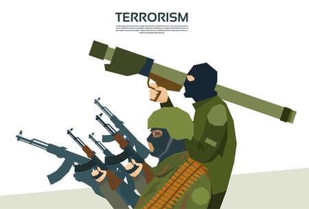 terrorism: Armed Terrorist Group Terrorism Concept Flat Vector Illustration