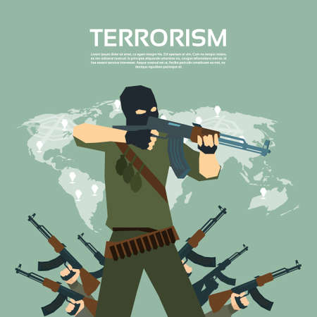 terrorism crisis: Armed Terrorist Group Over World Map International Terrorism Concept Flat Vector Illustration