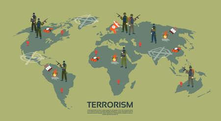 Gewapend Terrorist Group over wereldkaart Terrorism Concept Flat Vector Illustration