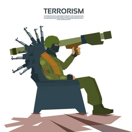militant: Armed Terrorist Group Terrorism Concept Flat Vector Illustration
