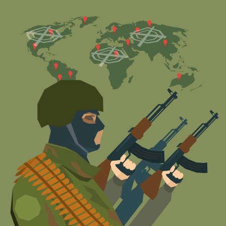balaclava: Armed Terrorist Over World Map Terrorism Concept Flat Vector Illustration Illustration