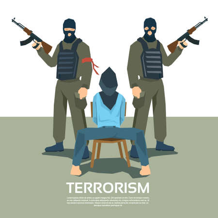hostage: Armed Terrorist Group With Hostage Kidnapping Terrorism Vector Illustration Illustration