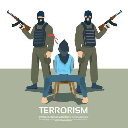 victim war: Armed Terrorist Group With Hostage Kidnapping Terrorism Vector Illustration Illustration