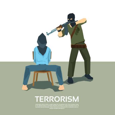Gewapend Terrorist Point Gun Hostage Ontvoering Terrorisme Vector Illustration