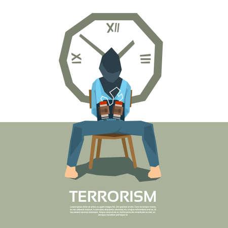 ojos vendados: Terrorismo reh�n atado sill�n de descanso con los ojos vendados con bomba Ilustraci�n del vector del reloj temporizador Vectores