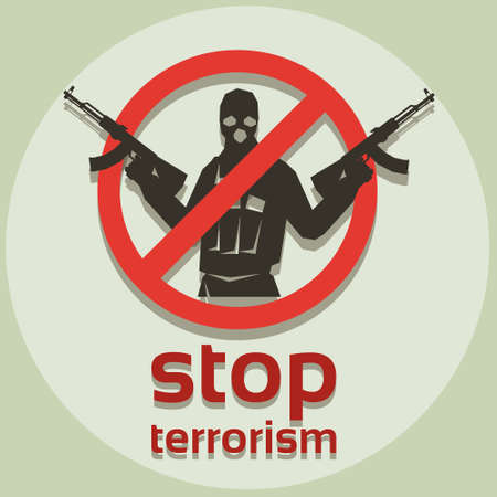Stop Terrorism Sign Armed Terrorist Black Mask Hold Weapon Machine Gun Vector Illustration