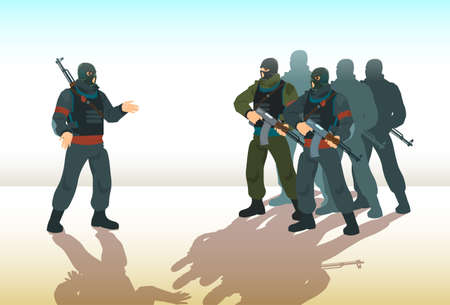 Armed Terrorist Group Team Leader Terrorism Vector Illustration Иллюстрация