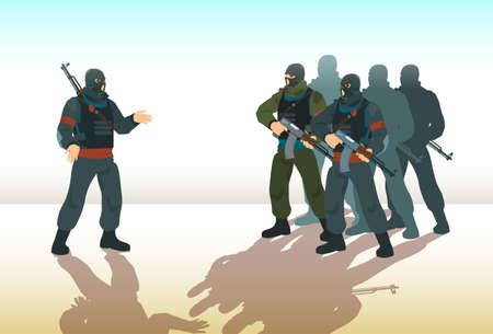Armed Terrorist Group Team Leader Terrorism Vector Illustration Vettoriali