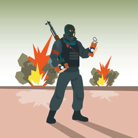 kamikaze: Terrorist Hold Bomb Terrorism Concept Flat Vector Illustration