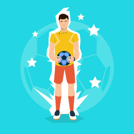 football referee: Football Referee hold Ball Match Start Championship Flat Vector Illustration