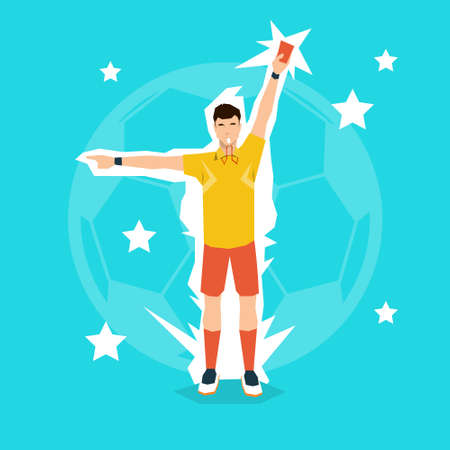 football referee: Football Referee Whistle Show Yellow Card Flat Vector Illustration