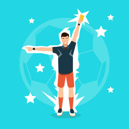 penalty card: Football Referee Whistle Show Red Card Flat Vector Illustration
