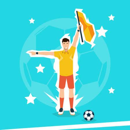 football referee: Football Referee Hold Flag Flat Vector Illustration