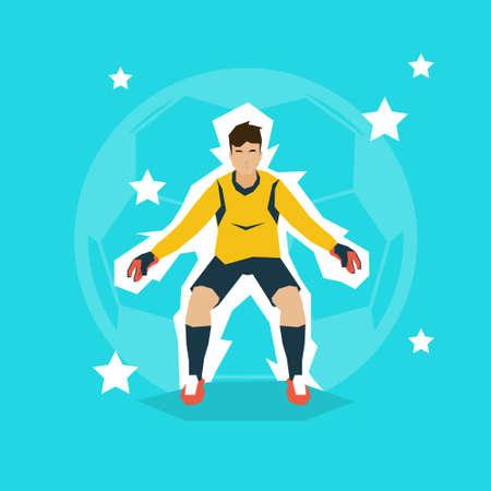 goalkeeper: Football Match Goalkeeper Protecting Gates Flat Vector Illustration
