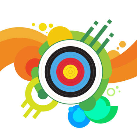 bowman: Archery Target Archer Sport Game Competition Colorful Banner With Copy Space Vector Illustration