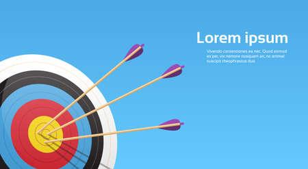 Bogenschießen-Ziel mit Pfeilen Bogenschütze-Sport-Spiel-Wettbewerb Bunte Banner Mit Kopie Raum Vektor-Illustration