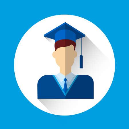 graduation gown: Graduate Student Icon Graduation Gown Cap Flat Vector Illustration