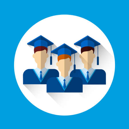 toga y birrete: Ilustración graduado grupo de alumnos Icono Traje de graduación casquillo plano vectorial