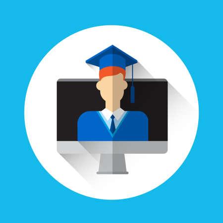 toga y birrete: Estudiante de tercer ciclo de escritorio pantalla de ordenador Icono Ilustración Traje de graduación casquillo plano vectorial Vectores