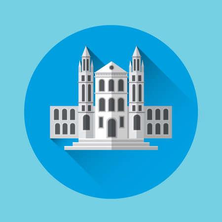 university building: University Building Residence Icon Flat Vector Illustration