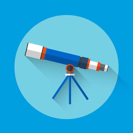 astronomy: Telescope Astronomy Science Icon Flat Vector Illustration Illustration