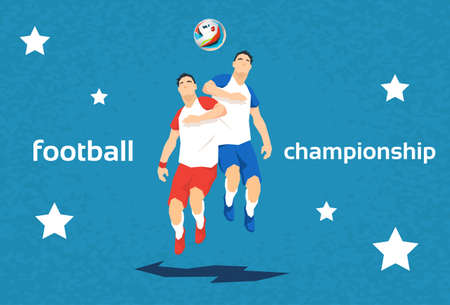 opponent: Football Player Opponent Team Hit Ball Sport Championship Flat Vector Illustration