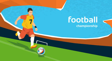kick ball: Football Player Kick Ball Sport Stadium Championship Flat Vector Illustration