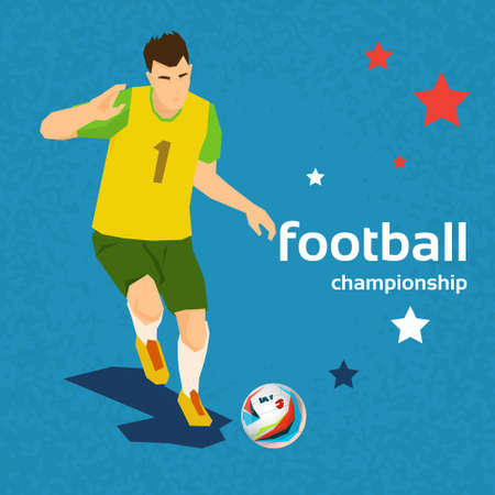 kick ball: Football Player Kick Ball Sport Championship Flat Vector Illustration Illustration
