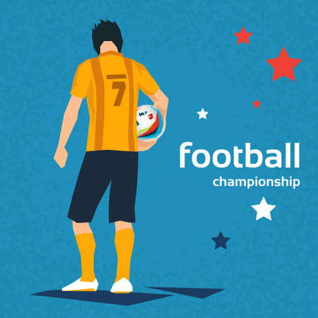 back view of man: Football Player Hold Ball Sport Championship Match Flat Vector Illustration