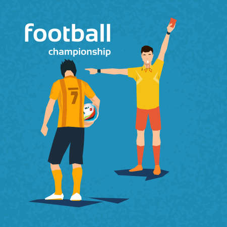 football referee: Football Referee Show Player Red Card Flat Vector Illustration