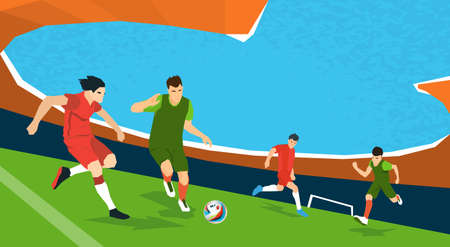 Football Match Team Players Sport Championship Flat Vector Illustration