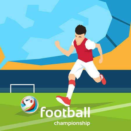 kick ball: Football Player Kick Ball Sport Championship Flat Vector Illustration Illustration