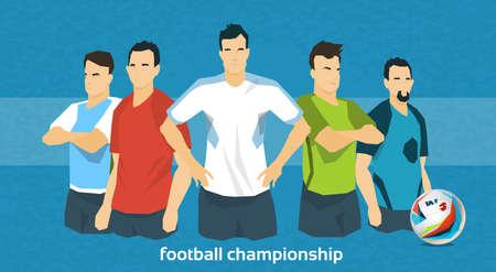 campeonato de futbol: Ilustraci�n del equipo de f�tbol Campeonato Internacional plana vectorial Vectores