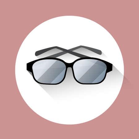 eye glasses: Eye Glasses Eyewear Icon Flat Vector Illustration