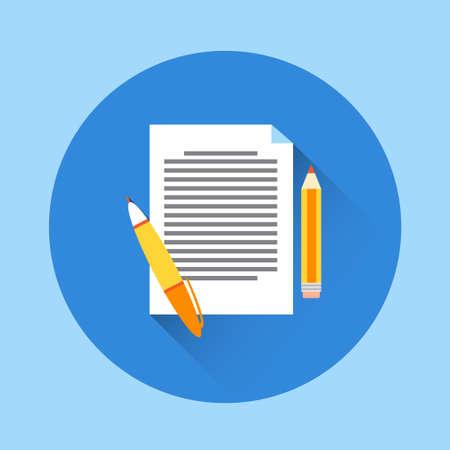 Documento de papel con la ilustración de la pluma plana del diseño del icono del vector