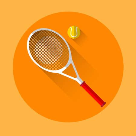 racquetball: Tennis Rocket Ball Sport Icon Flat Vector Illustration Vectores