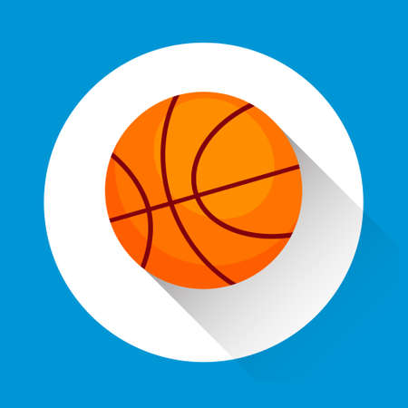game equipment: Basketball Ball Game Equipment Sport Icon Flat Vector Illustration