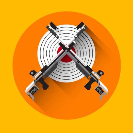 shooting gun: Shooting Gun Target Equipment Sport Icon Flat Vector Illustration
